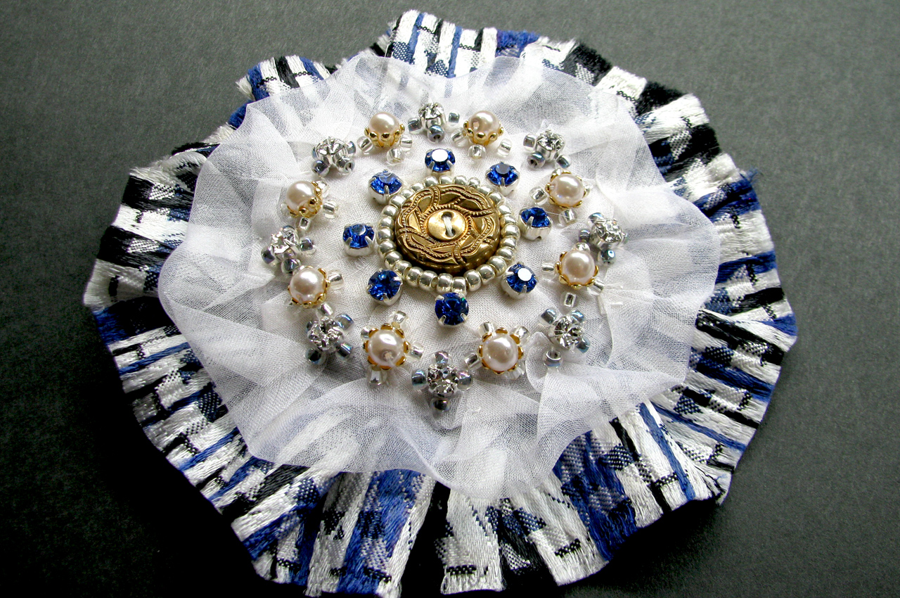 Vintage button swarovski brooch